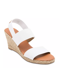 Allison Elastic Espadrille Wedge- White