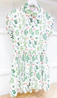 Morgana Dress- White & Green Pasiflora