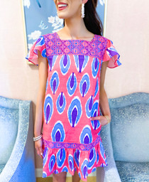 Bouganvilla Short Dress- Pink/Blue Ikat