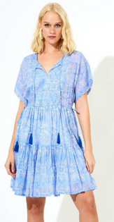 Side Tie Tassel Dress- Blue Tigerlily