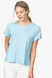 Short Sleeve Pleat Back Top- Sky