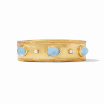 Cassis Statement Hinge Bracelet- Gold Iridescent Chalcedony w/ Pearl Accents
