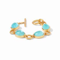 Barcelona Bracelet- Gold Iridescent Bahamian Blue