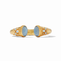 Cassis Hingel Cuff- Gold Iridescent Chalcedony Blue w/Pearl Accents