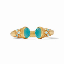Cassis Hinge Cuff- Gold Iridescent Bahamian Blue w/Pearl Accents