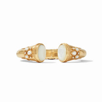 Cassis Hinge Cuff- Gold Mother of Pearl w/ Pearl Accents
