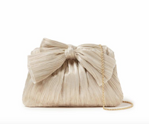 Pleated Frame Bow Clutch- Platinum