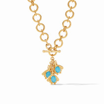 Bee Charm Necklace- Gold Iridescent Pacific Blue and Iridescent Clear Crystal