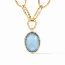 Fleur-de-Lis Statement Necklace- Gold Iridescent Chalcedony Blue Reversible