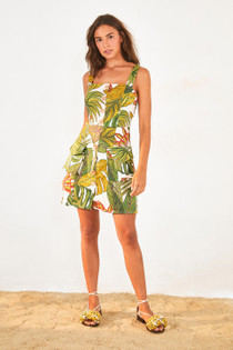 Leaf Print Dress- Spotted Leaf