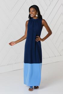 Ruffle Neck Maxi Dress- Navy/Carolina Blue