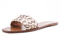 Lorena Double-Braid Leather Slide- Gold