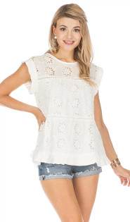 Eyelet Tiered Top- White