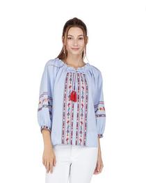 Embroidered Tassel Top- Blue Stripe