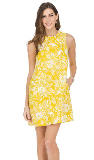 Ruffle Square Back Dress- Yellow Floral