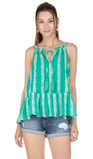 Green Embroidered Tank Top- Green