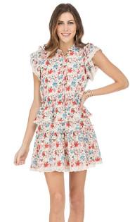 Multi Floral Ruffle Dress- Multi Floral