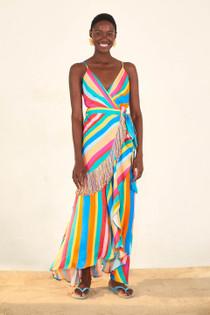Striped Scarf Wrap Dress- Striped Scarf