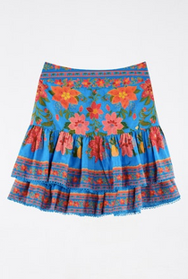 Blue Tropical Tapestry Mini Skirt- Blue Tropical Tapestry