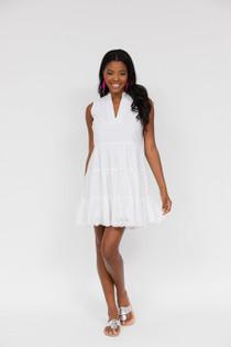 White Eyelet Sleeveless Dress- White