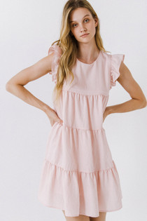 Flutter Sleeve Tiered Dress- Baby Pink