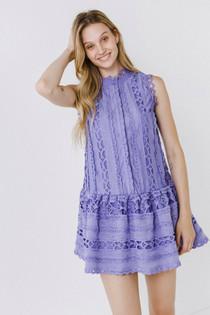 Drop Waist Eyelet Dress- Cornflower Blue