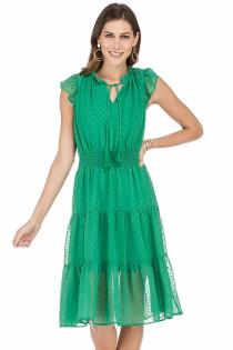 Swiss Dot Tiered Midi Dress- Green