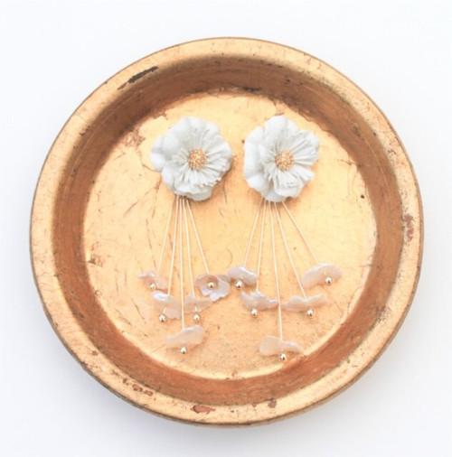 Ivory Floral Pearl Drop Earrings