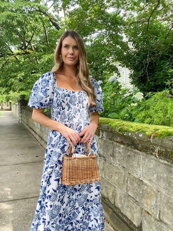 Mae Midi Dress- Blue & White Floral