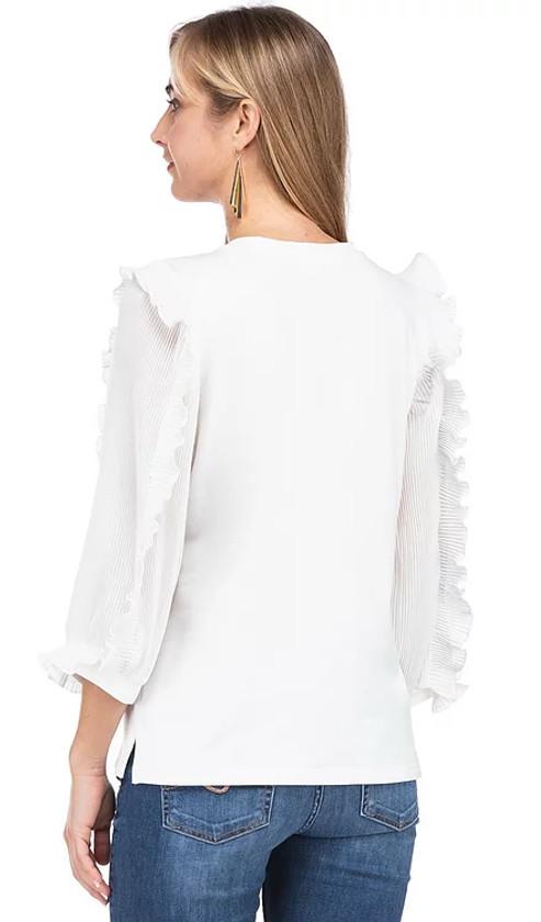 Pleated Sheer Sleeve Top- White