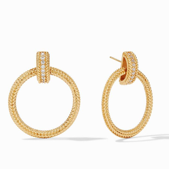 Windsor Doorknocker Earring- Gold CZ