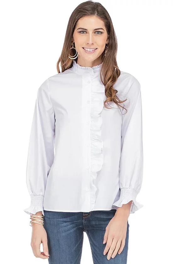 White Button Down Ruffle Blouse- White