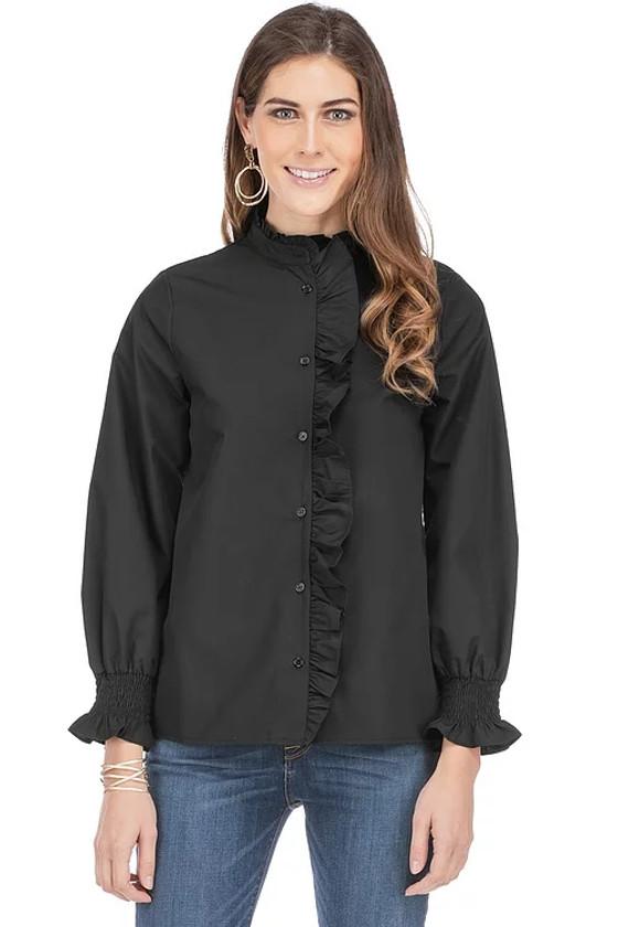 Black Button Down Ruffle Blouse- Black