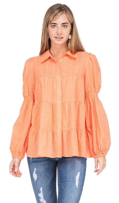 Button Down Tiered Top- Tangerine