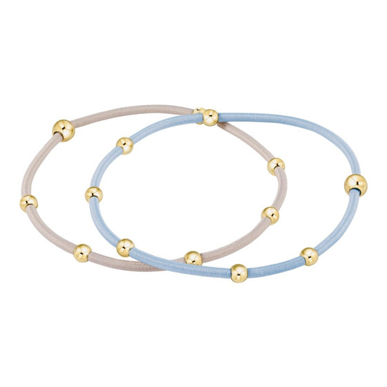 Essential Beaded Hair Tie Bracelet Set- Dusty Blue