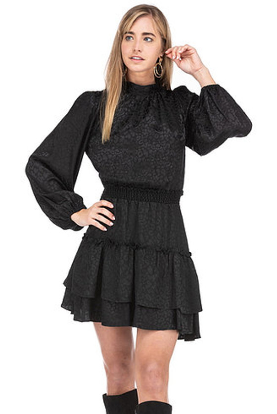 Bella High Neck Smock Waist Dress- Black Leopard