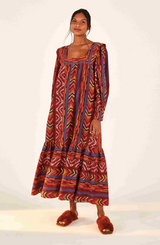 Red Striped Patches Maxi Dress