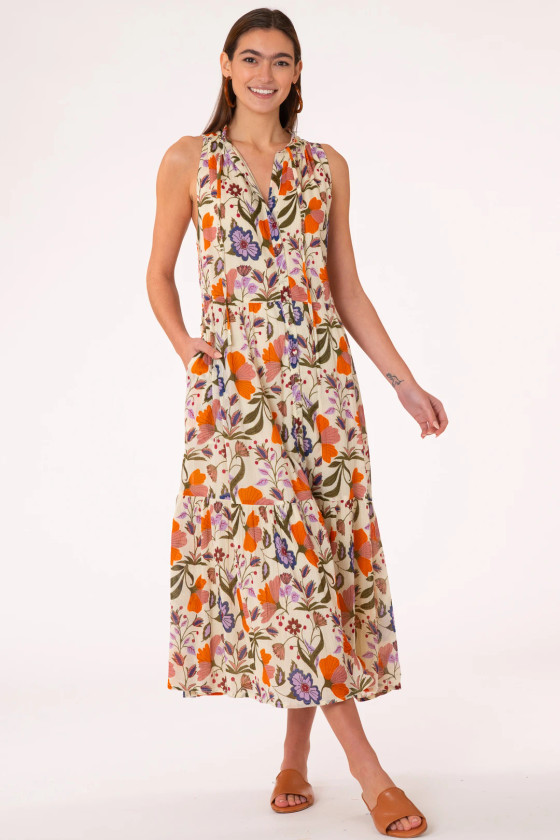 Ro Long Dress- Almond Fall Floral