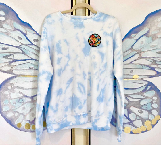 Smiley Blue Sweatshirt- Blue Pastel