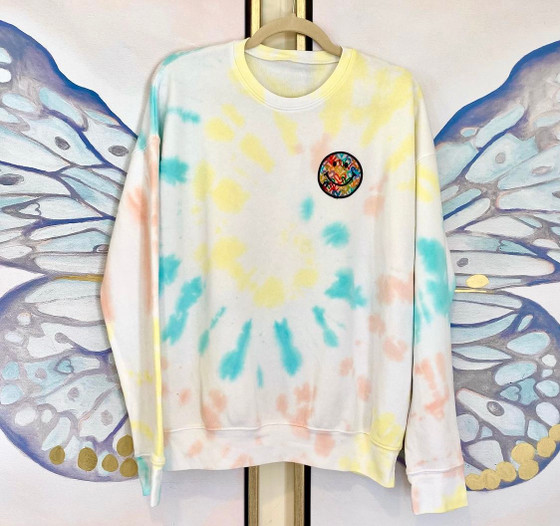 Smiley Rainbow Sweatshirt- Rainbow Pastel