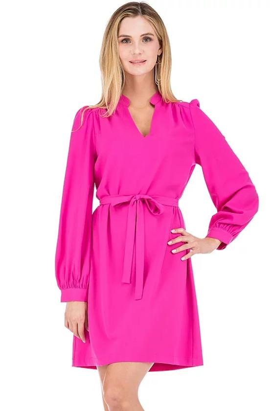 Sharon Split Neck Dress- Cerise