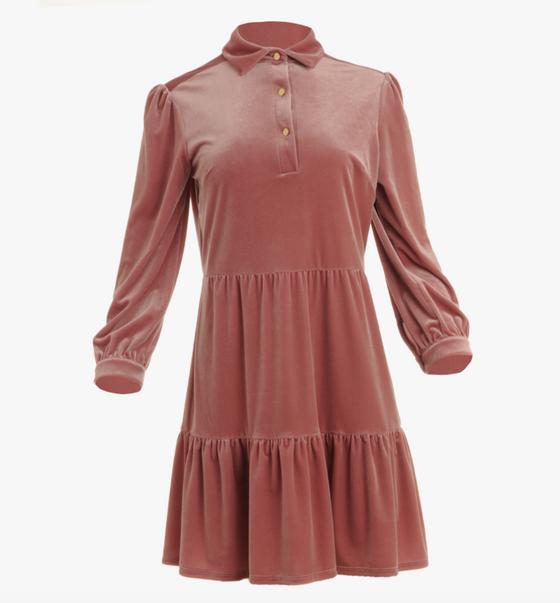 Henley Dress- Mauve Velvet