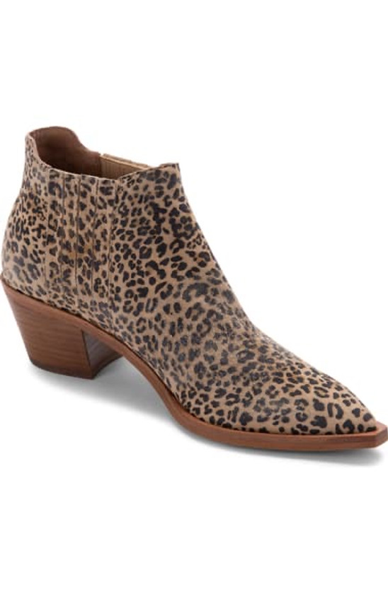 Shana Bootie- Tan/Black Dusted Leopard Suede