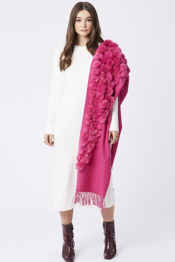 Fur/Pearl Pom Pom Wrap- Hot Pink
