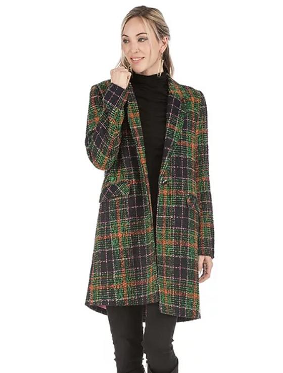 Multicolor Plaid Button Coat
