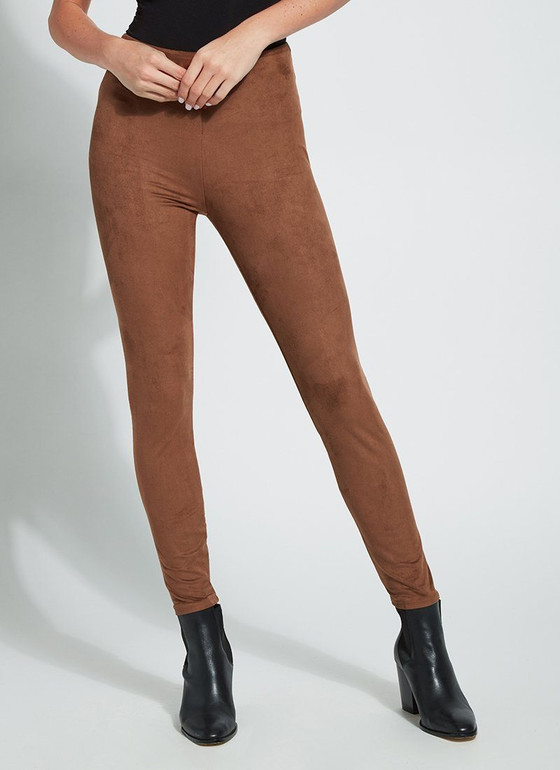 Hi Waist Suede Legging- Danish Brown