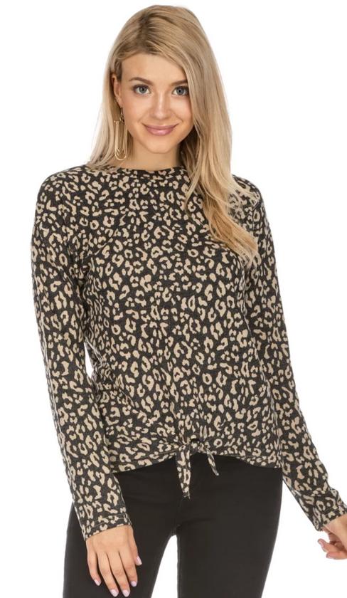 Front Tie Top- Charcoal Leopard