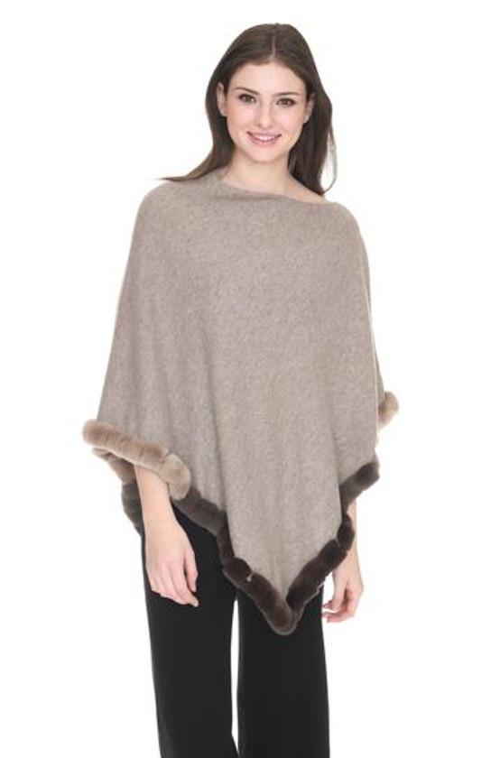 Fur Trim Cashmere Topper- Heather Almond