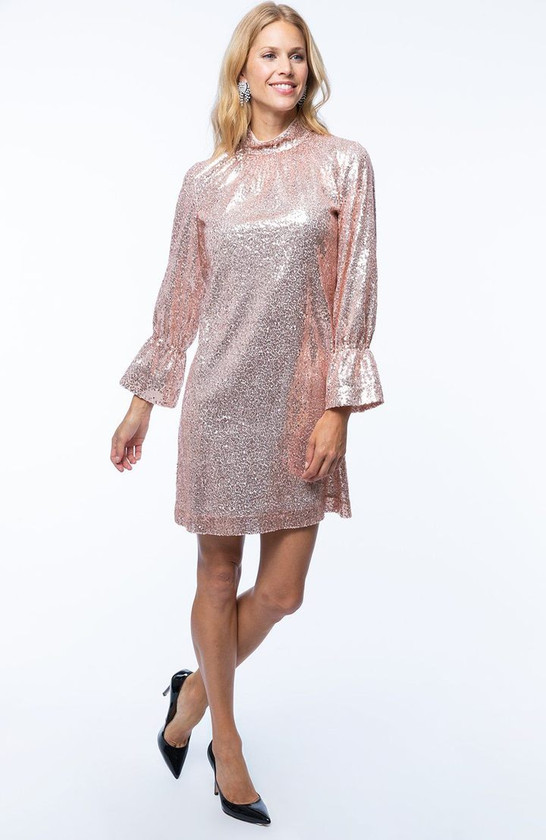 Connie Sequin Dress- Pink Mallow