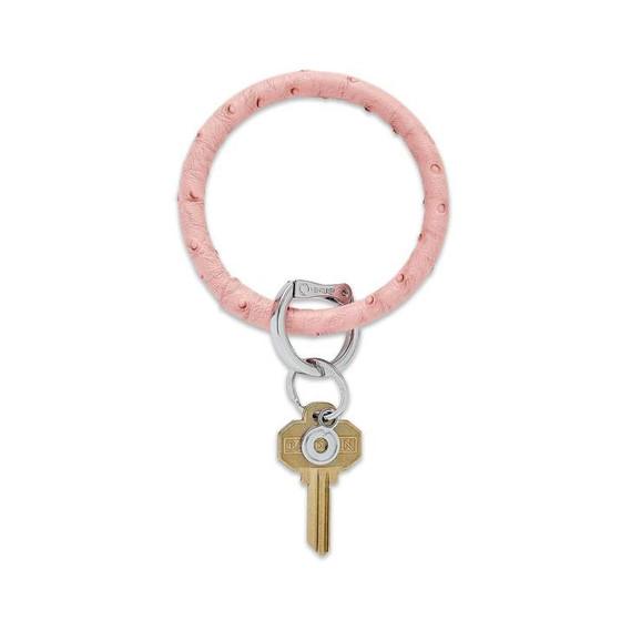 Big O Key Ring Leather- Dusty Rose Ostrich